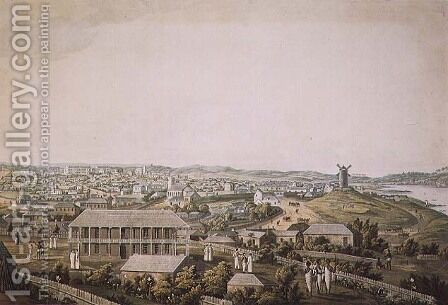 The town of Sydney in New South Wales, central section of a panoramic view, c.1821 by (after) Taylor, Major James - Reproduction Oil Painting