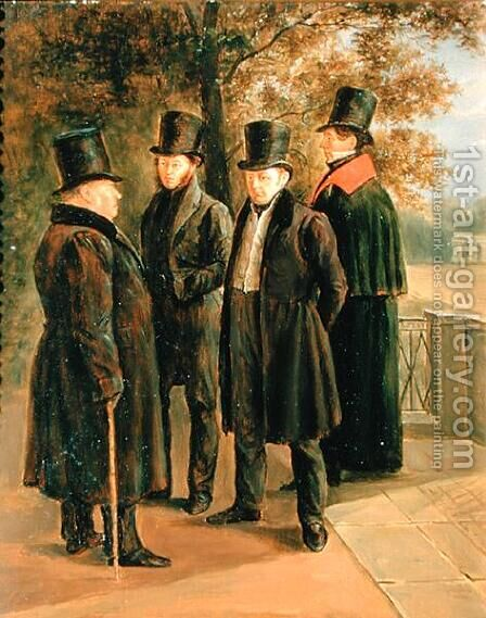 The Poets Aleksandr Pushkin 1799-1837, Ivan Krylov 1768-69-1844, Vasily Zhukovsky 1783-1852 and Nicolai Gnedich 1784-1833 by Grigory Tchernezov - Reproduction Oil Painting