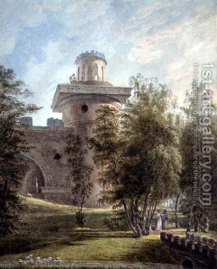 View of the Picturesque Park and Observatory at Tsarskoye Selo by J. Tearnof - Reproduction Oil Painting