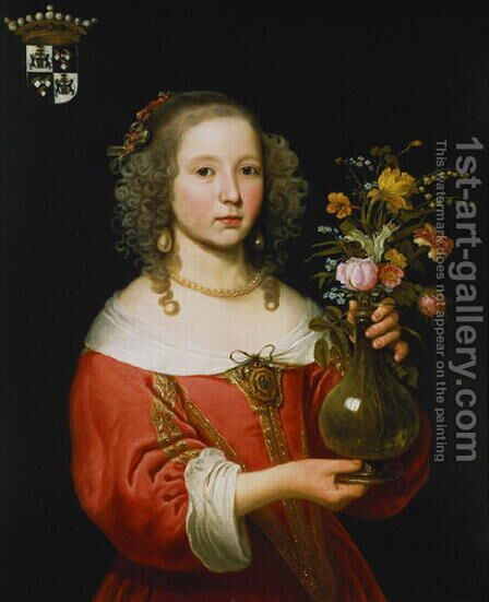 Portrait of a Young Girl by Abraham van den Tempel - Reproduction Oil Painting