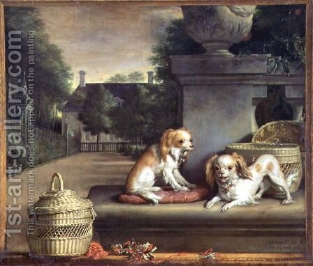 Two Dogs in a Park by Abraham van den Tempel - Reproduction Oil Painting