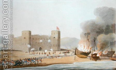 The Attack on the Fort of Luft, November 27th 1809, from Sixteen Views of Places in the Persian Gulph, taken in the Years 1809-10 illustrative of the Proceedings of the Forces employd on the expedition sent from Bombay, engraved by I. Clark, published by (after) Temple, R. - Reproduction Oil Painting