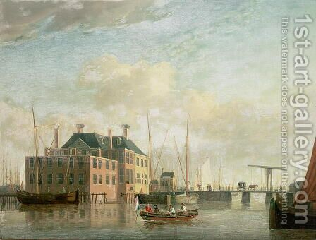 The Customs House, Amsterdam by Jan Ten Compe or Kompe - Reproduction Oil Painting