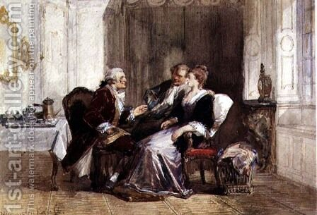 Conversation After Coffee by Herman Frederick Carel Ten Kate - Reproduction Oil Painting