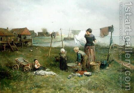 Hanging Up the Washing by Jan Mari Henri Ten Kate - Reproduction Oil Painting