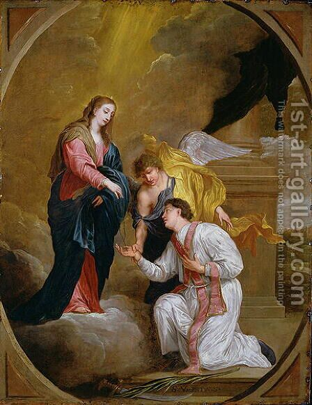 St Valentine Kneeling in supplication by David III Teniers - Reproduction Oil Painting