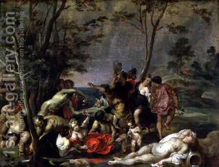 Bacchanal by David The Elder Teniers - Reproduction Oil Painting
