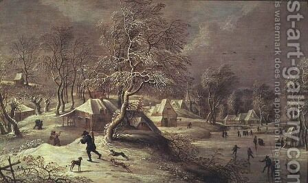 The Old Village under Snow by David The Elder Teniers - Reproduction Oil Painting