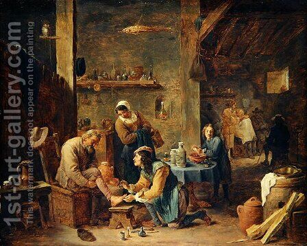The Barbers Shop by David The Younger Teniers - Reproduction Oil Painting