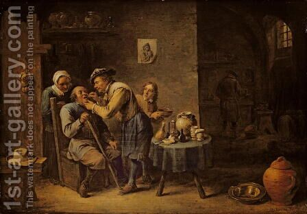 The Dentist, 1652 by David The Younger Teniers - Reproduction Oil Painting