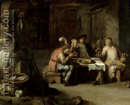 Interior of an Alehouse, c.1630s by David The Younger Teniers - Reproduction Oil Painting