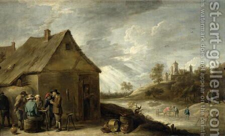 Inn by a River by David The Younger Teniers - Reproduction Oil Painting