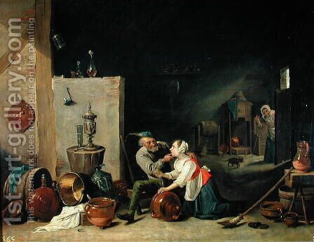 The Old Man and the Servant, 1800 by David The Younger Teniers - Reproduction Oil Painting