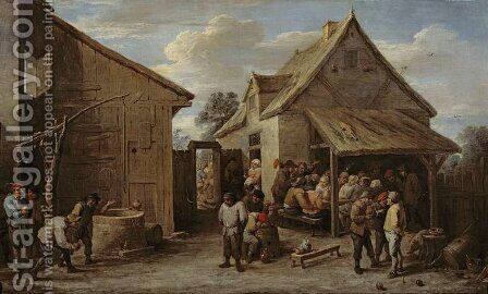 The Yard of an Inn by David The Younger Teniers - Reproduction Oil Painting