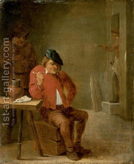 The Smoker by David The Younger Teniers - Reproduction Oil Painting