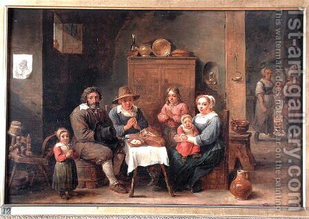 Interior with Figures Saying Grace by David The Younger Teniers - Reproduction Oil Painting
