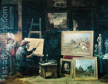 The Monkey Painter, 1805 by David The Younger Teniers - Reproduction Oil Painting