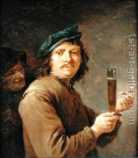 Man Holding a Pipe and a Glass of Beer by David The Younger Teniers - Reproduction Oil Painting