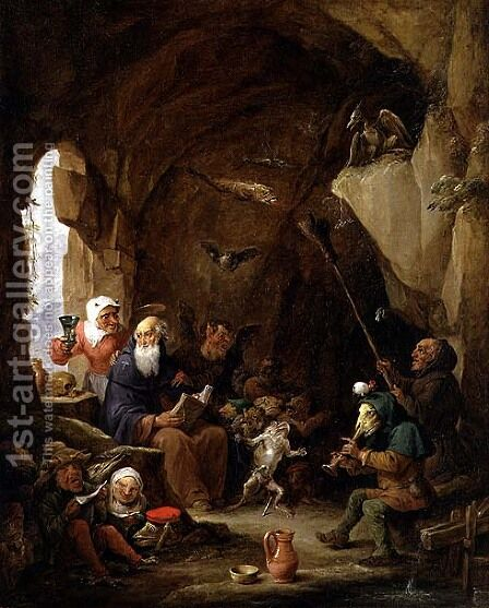 The Temptation of St. Anthony in a Rocky Cavern by David The Younger Teniers - Reproduction Oil Painting