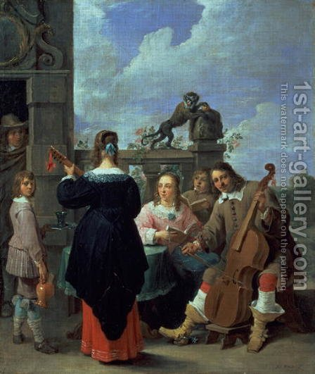 The Artist and his Family in Concert by David The Younger Teniers - Reproduction Oil Painting