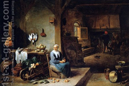 Interior of a Peasant Dwelling by David The Younger Teniers - Reproduction Oil Painting