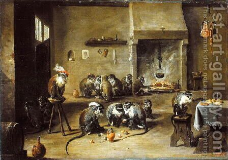 Monkeys in a Kitchen, c.1645 by David The Younger Teniers - Reproduction Oil Painting