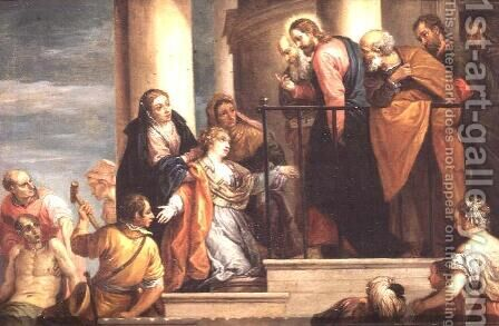 Raising of the widows son of Nain, 1651-56, copy of painting by Veronese by David The Younger Teniers - Reproduction Oil Painting