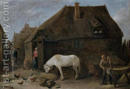 The Chaff-Cutter by David The Younger Teniers - Reproduction Oil Painting
