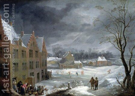 Winter Scene with a Man Killing a Pig by David The Younger Teniers - Reproduction Oil Painting