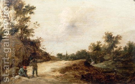 Landscape with Travellers by David The Younger Teniers - Reproduction Oil Painting