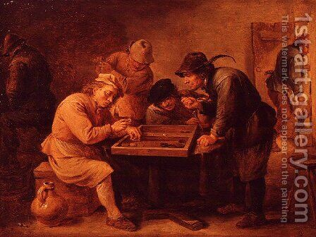 A Game of Tric-Trac by David The Younger Teniers - Reproduction Oil Painting