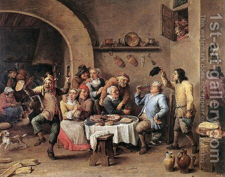 Carnival- Le Roi Boit, 1690 by David The Younger Teniers - Reproduction Oil Painting
