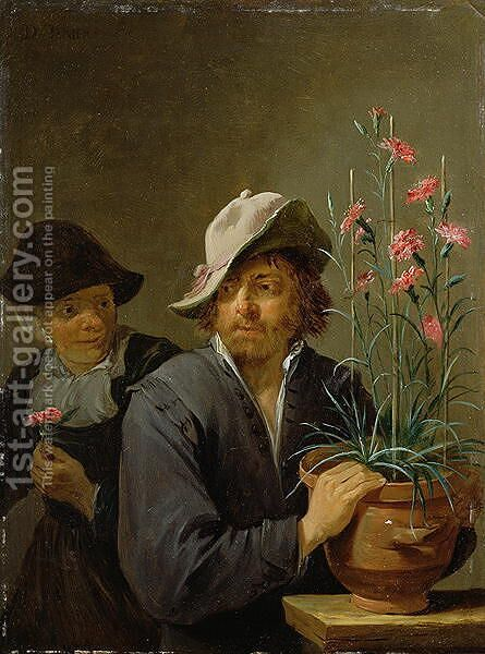 The Five Senses Series- Smelling by David The Younger Teniers - Reproduction Oil Painting