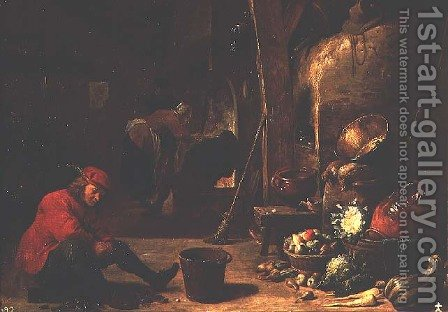The Kitchen 2 by David The Younger Teniers - Reproduction Oil Painting