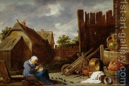 A cat tended by an old woman by David The Younger Teniers - Reproduction Oil Painting