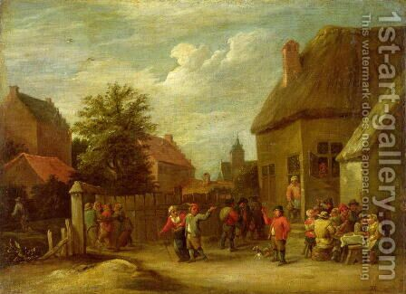 The courtyard of a village inn with a man toasting departing revellers by David The Younger Teniers - Reproduction Oil Painting