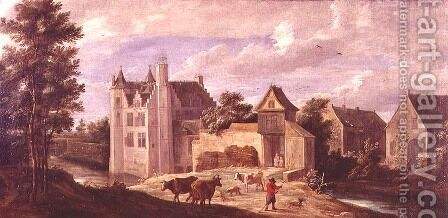 View of a Chateau by David The Younger Teniers - Reproduction Oil Painting