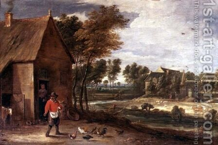 A River Landscape by David The Younger Teniers - Reproduction Oil Painting