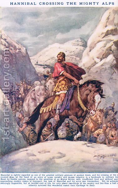 Hannibal Crossing the Mighty Alps, illustration from Newnes Pictorial Book of Knowledge by Dudley C. Tennant - Reproduction Oil Painting