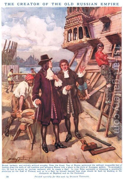 Peter the Great- The Creator of the Old Russian Empire, illustration from Newnes Pictorial Book of Knowledge by Dudley C. Tennant - Reproduction Oil Painting