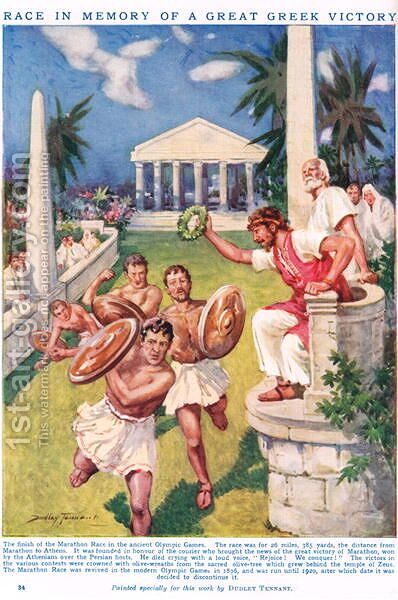 The Marathon- Race in Memory of a Great Greek Victory, illustration from Newnes Pictorial Book of Knowledge by Dudley C. Tennant - Reproduction Oil Painting