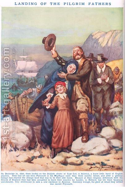 Landing of the Pilgrim Fathers, illustration from Newnes Pictorial Book of Knowledge by Dudley C. Tennant - Reproduction Oil Painting