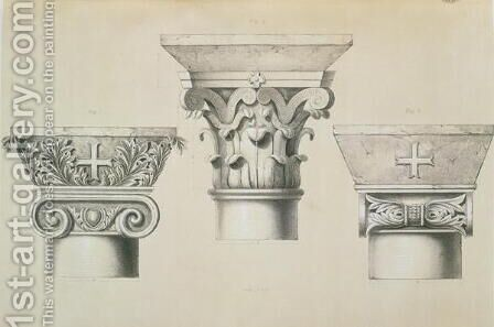Byzantine capitals from columns in the nave of the church of St. Demetrius in Thessalonica, pub. by Day & Son by (after) Texier, Charles Felix Marie - Reproduction Oil Painting