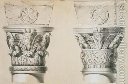 Byzantine capitals from columns in the nave of the church of St. Demetrius in Thessalonica, pub. by Day & Son 2 by (after) Texier, Charles Felix Marie - Reproduction Oil Painting
