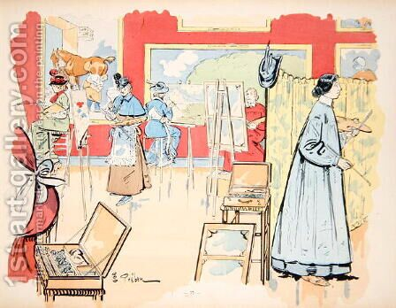Ladies attending a painting class, 1902 by E. Thelem - Reproduction Oil Painting