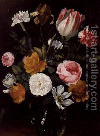 Still Life of Flowers in a Glass Vase by Jan Philip van Thielen - Reproduction Oil Painting