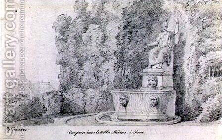 View of a Fountain in the Garden of the Villa Medici, Rome, c.1815-20 by Claude Thienon - Reproduction Oil Painting