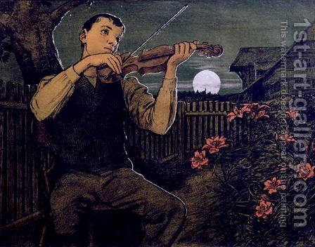 Violin player to the Moon by Hans Thoma - Reproduction Oil Painting