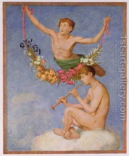 May, illustration from Festkalender published in Leipzig c.1910 by Hans Thoma - Reproduction Oil Painting
