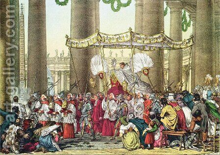 The Papal Procession on the Feast of Corpus Christi, engraved by Francois Alexandre Villain 1798-1884 by Antoine Jean-Baptiste Thomas - Reproduction Oil Painting